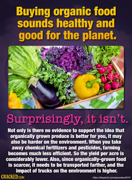 Buying organic food sounds healthy and good for the planet. Surprisingly, it isn't. Not only is there no evidence to support the idea that organically