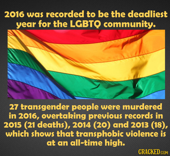 2016 was recorded to be the deadliest year for the LGBTQ community. 27 transgender peopLE were murdered in 2016, overtaking previous records in 2015 (