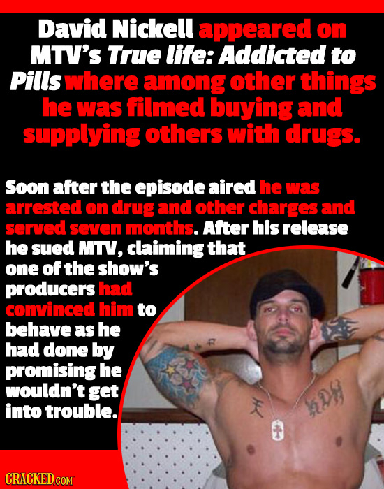 David Nickell appeared on MTV'S True life: Addicted to Pills where among other things he was filmed buying and supplying others with drugs. Soon after