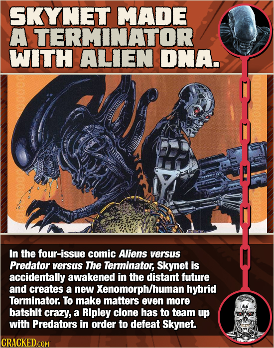 SKYNET MADE A TERMINATOR WITH ALIEN DNA. In the four-issue comic Aliens versus Predator versus The Terminator, Skynet is accidentally awakened in thE