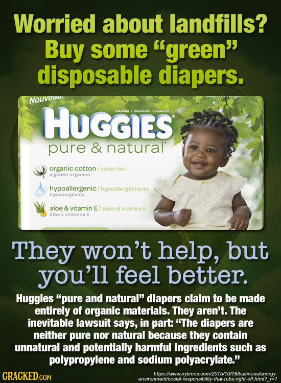 Worried about landfills? Buy some green disposable diapers. Nouveau HUGGIES DLAPERS COUCHES PANALES pure & natural organic cotton coton bio algodon