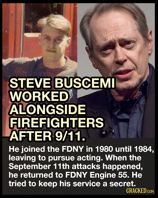 STEVE BUSCEMI WORKED ALONGSIDE FIREFIGHTERS AFTER 9/11. He joined the FDNY in 1980 until 1984, leaving to pursue acting. When the September 11th attac