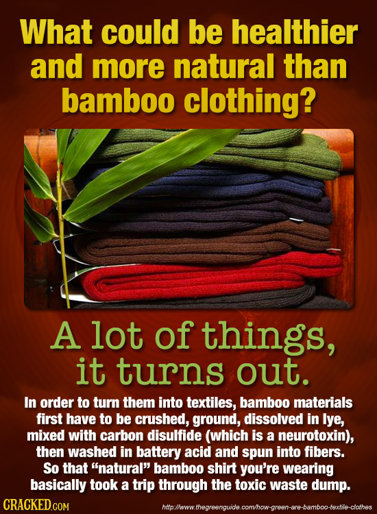 What could be healthier and more natural than bamboo clothing? A lot of things, it turns out. In order to turn them into textiles, bamboo materials fi