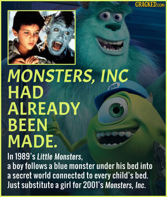 MONSTERS, INC HAD ALREADY BEEN MADE. In 1989's Little Monsters, a boy follows a blue monster under his bed into a secret world connected to every chil