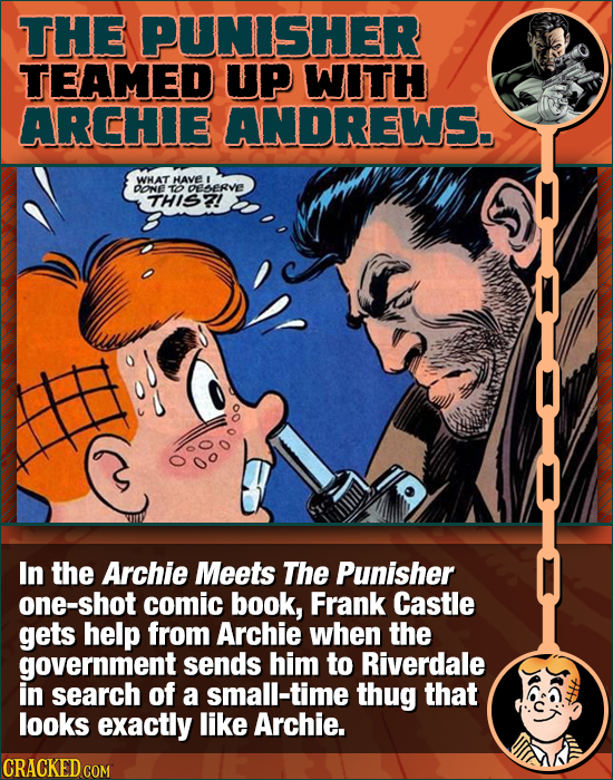 THE PUNISHER TEAMED UP WITH ARCHIE ANDREWS. WHAT HAvE DONE TOELERvE THIS2! In the Archie Meets The Punisher one-shot comic book, Frank Castle gets hel