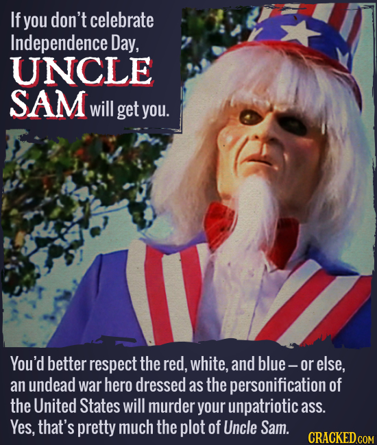 If you don't celebrate Independence Day, UNCLE SAM will get you. You'd better respect the red, white, and blue- or else, an undead war hero dressed as