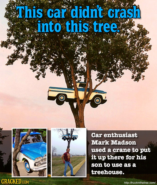 This car didn't crash into this tree. Car enthusiast Mark Madson used a crane to put it up there for his son to use as a treehouse. CRACKED COM http:/