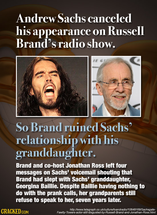 Andrew Sachs canceled his appearance on Russell Brand's radio show. 1 So Brand ruined Sachs' relationship with his granddaughter. Brand and co-host Jo