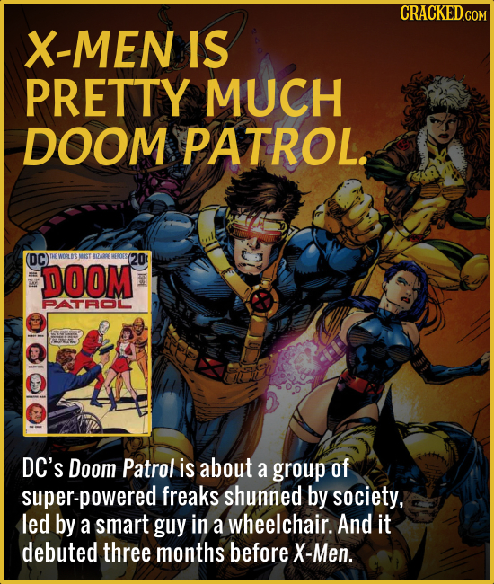X-MEN IS PRETTY MUCH DOOM PATROL. (DC) HE WORL LOSMST AQA HFROESA (20 DOOM ATAOIL DC'S Doom Patrol is about a group of super-powered freaks shunned by