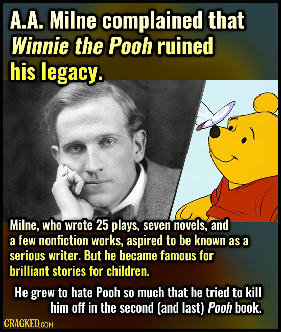 A.A. Milne complained that Winnie the Pooh ruined his legacy. Milne, who wrote 25 plays, seven novels, and a few nonfiction works, aspired to be known