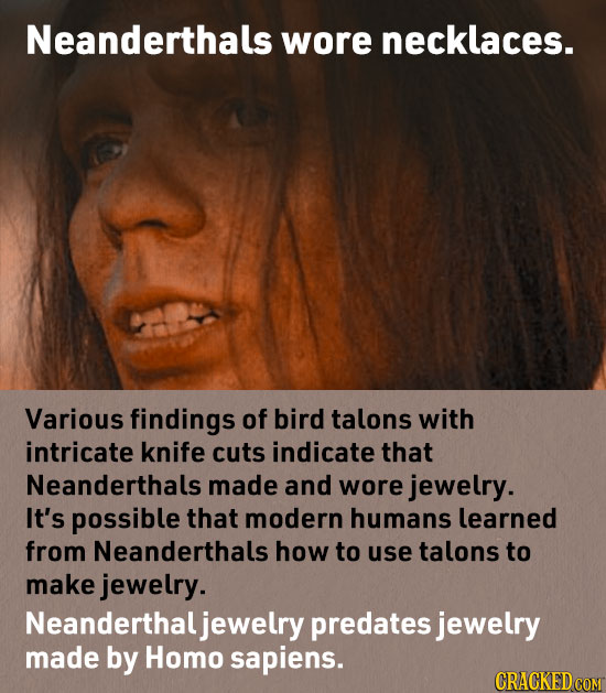 Neanderthals wore necklaces. Various findings of bird talons with intricate knife cuts indicate that Neanderthals made and wore jewelry. It's possible