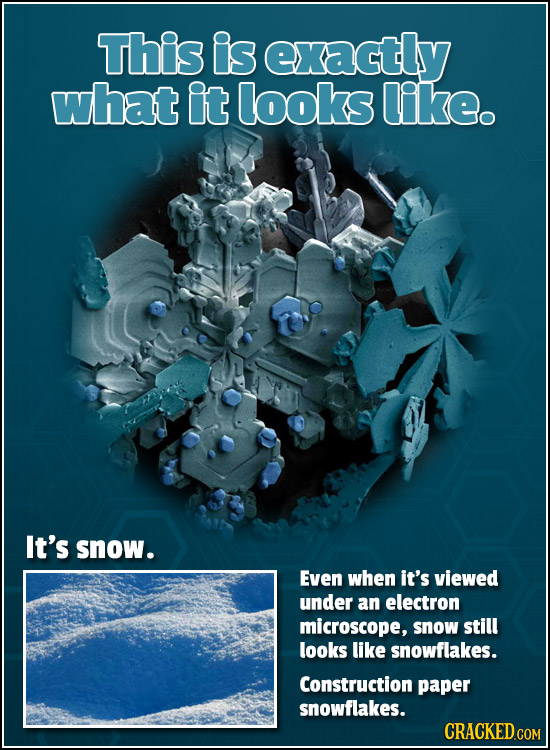 This is exactly what it looks like. It's snow. Even when it's viewed under an electron microscope, snOW still looks like snowflakes. Construction pape