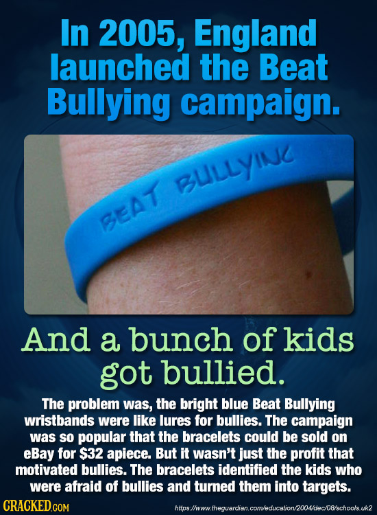 In 2005, England launched the Beat Bullying campaign. BLLLYINC BEAT And a bunch of kids got bullied. The problem was, the bright blue Beat Bullying wr