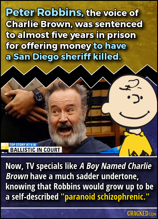 Peter Robbins, the voice of Charlie Brown, was sentenced to almost five years in prison for offering money to have a San Diego sheriff killed. TOP STO