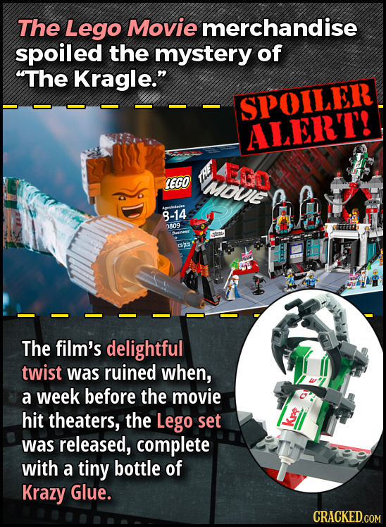 The Lego Movie merchandise spoiled the mystery of The Kragle. SPOILER ALERT! EGD LEGO Mouie mnlediadtes 8-14 0809 crs The film's delightful twist wa