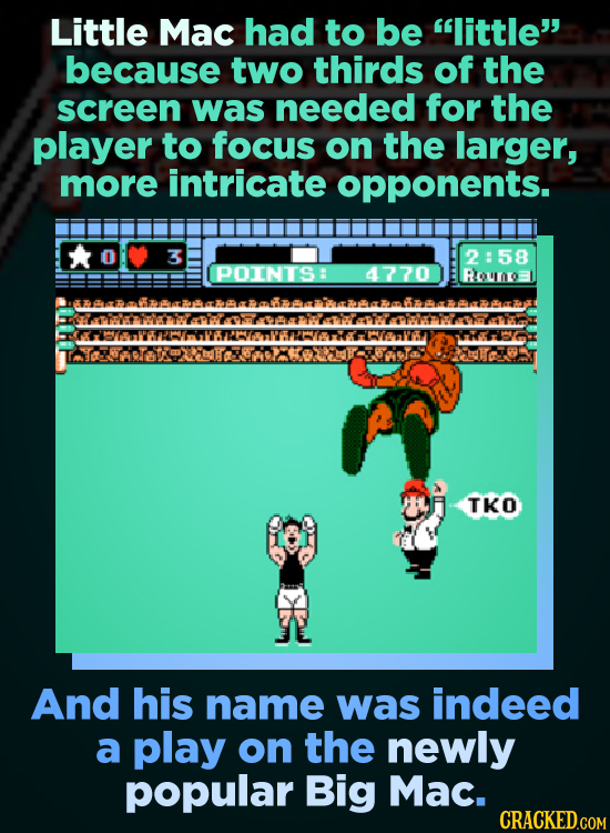 Little Mac had to be little because two thirds of the screen was needed for the player to focus on the larger, more intricate opponents. 3 2:58 POIN