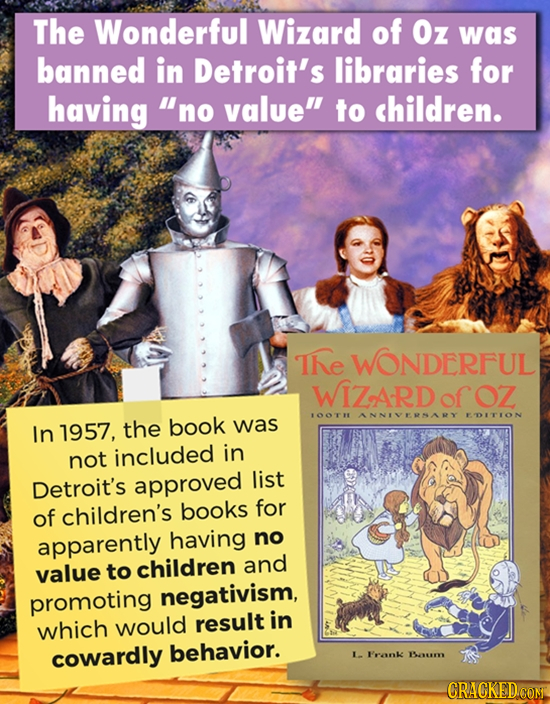The Wonderful Wizard of Oz was banned in Detroit's libraries for having no value to children. TNE WONDERFUL WIZARD ofOZ LOOTH ANNIVERNARY FOITION In