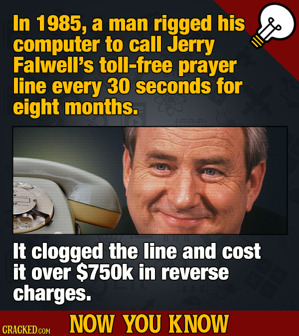 In 1985, a man rigged his computer to call Jerry Falwell's toll-free prayer line every 30 seconds for eight months. It clogged the line and cost it ov