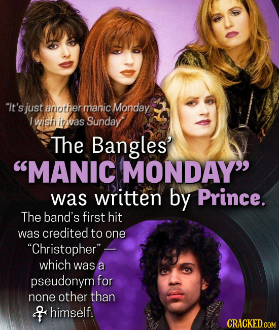 It's just another manic Monday 1 wish it was Sunday The Bangles MANIC MONDAY was written by Prince. The band's first hit was credited to one Chris