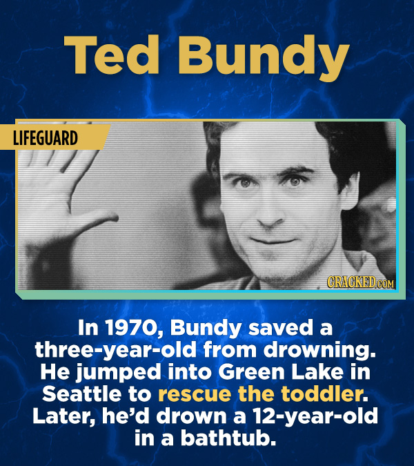 17 Surprising (True) Facts About Awful People - In 1970, Bundy saved a three-year-old from drowning. He jumped into Green Lake in Seattle to rescue th