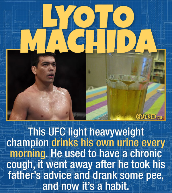 15 Bizarre Habits Of Incredibly Successful People - This UFC light heavyweight champion drinks his own urine every morning. He used to have a chronic