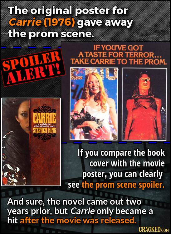 The original poster for Carrie (1976) gave away the prom scene. IF YOUI'VE GOT ATASTE FOR TERROR... SPOILER TAKE CARRIE TO THE PROM. ALERT! CARRIE ant