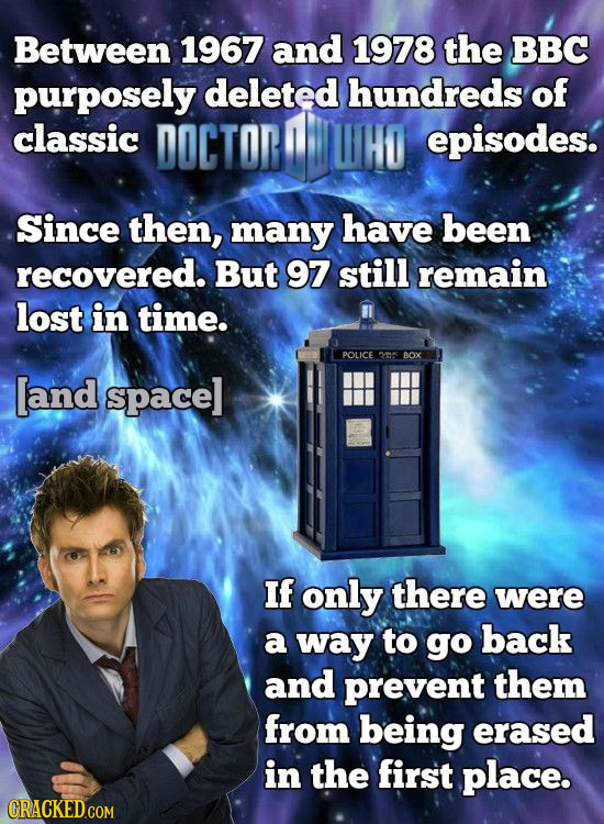Between 1967 and 1978 the BBC purposely deleted hundreds of classic DOCTOR episodes. Since then, many have been recovered. But 97 still remain lost in