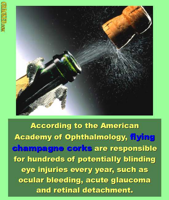 CRACKEDOON According to the American Academy of Ophthalmology, flying champagne corks are responsible for hundreds of potentially blinding eye injurie