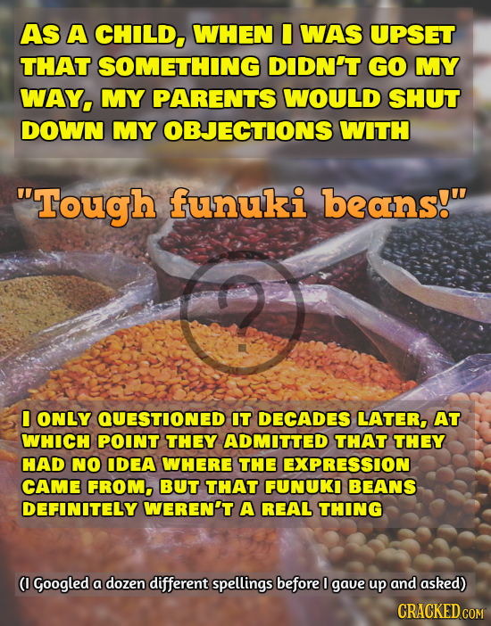 AS A CHILD, WHEN I WAS UPSET THAT SOMETHING DIDN'T GO MY WAY, MY PARENTS WOULD SHUT DOWN MY OBJECTIONS WITH Tough funuki beans! I ONLY QUESTIONED IT