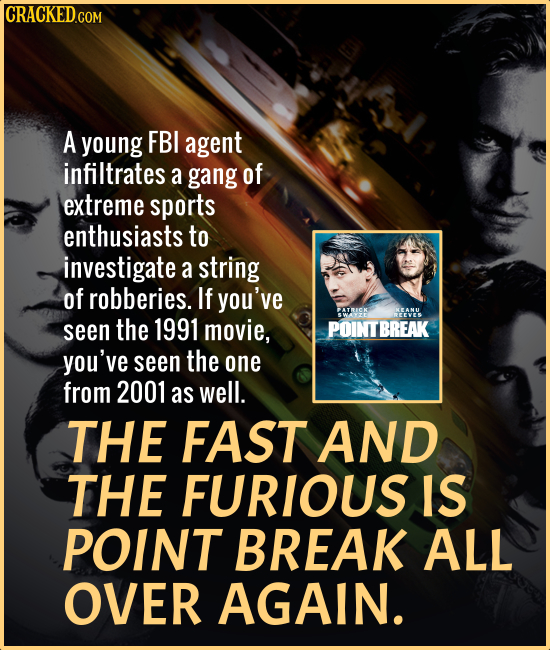 CRACKED.COM A young FBI agent infiltrates a gang of extreme sports enthusiasts to investigate a string of robberies. If you've ATCK KEANU NEEVES seen