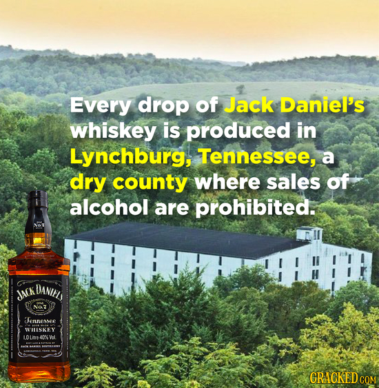 Every drop of Jack Daniel's whiskey is produced in Lynchburg, Tennessee, a dry county where sales of alcohol are prohibited. DANIEL JACK NO.7 Termesse