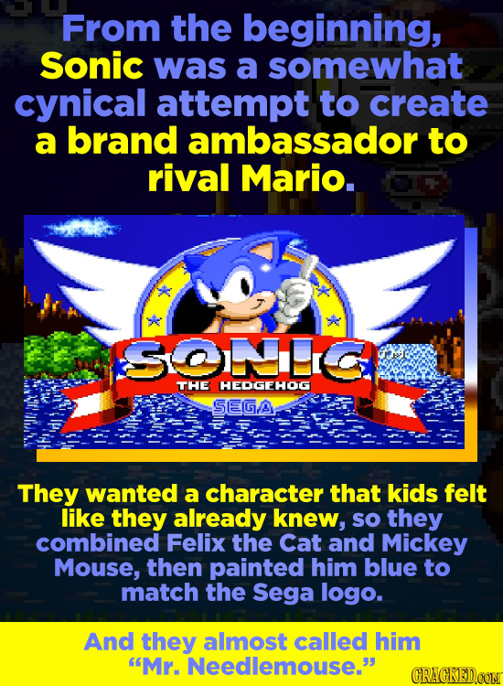 From the beginning, Sonic was a somewhat cynical attempt to create a brand ambassador to rival Mario. SONC THE HEDGEHOG SEGA They wanted a character t