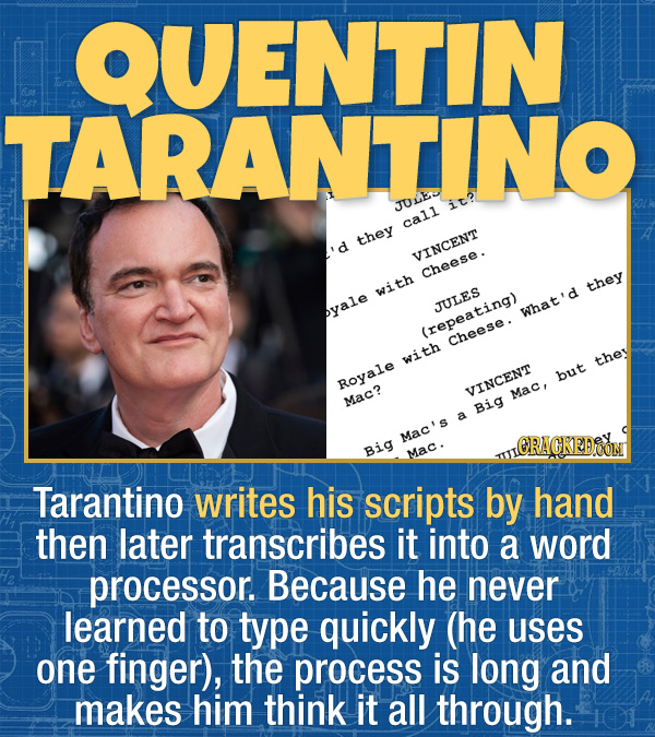 15 Bizarre Habits Of Incredibly Successful People - Tarantino writes his scripts by hand then later transcribes it into a word processor. Because he n
