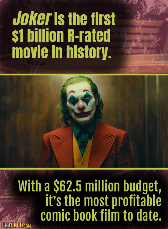 Joker is the first $1 billion R-rated movie in history. With a $62.5 million budget, it's the most profitable comic book film to date. CRACKED COM