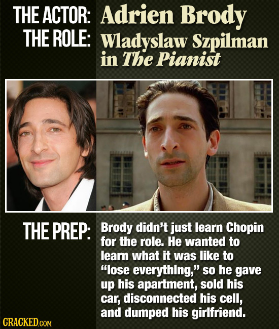 THE ACTOR: Adrien Brody THE ROLE: Wladyslaw Szpilman in The Pianist THE PREP: Brody didn't jUst learn Chopin for the role. He wanted to learn what it