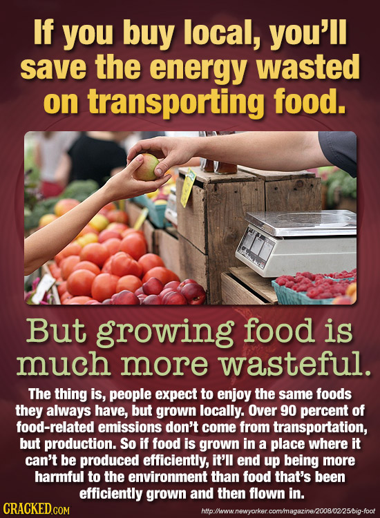 If you buy local, you'll save the energy wasted on transporting food. But growing food is much more wasteful. The thing is, people expect to enjoy the
