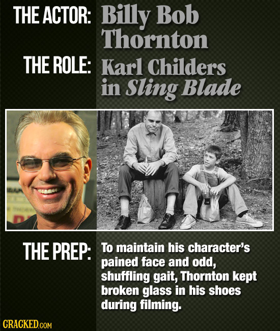 THE ACTOR: Billy Bob Thornton THE ROLE: Karl Childers in Sling Blade THE PREP: To maintain his character's pained face and odd, shuffling gait, Thornt