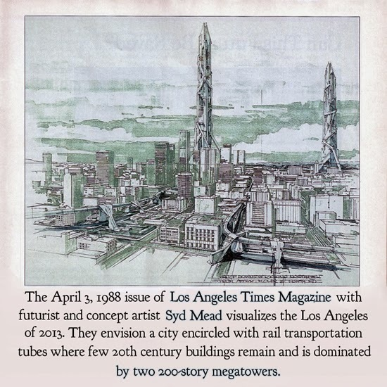 The April 3, I988 issue of Los Angeles Times Magazine with futurist and concept artist Syd Mead visualizes the Los Angeles of 2013. They envision a ci