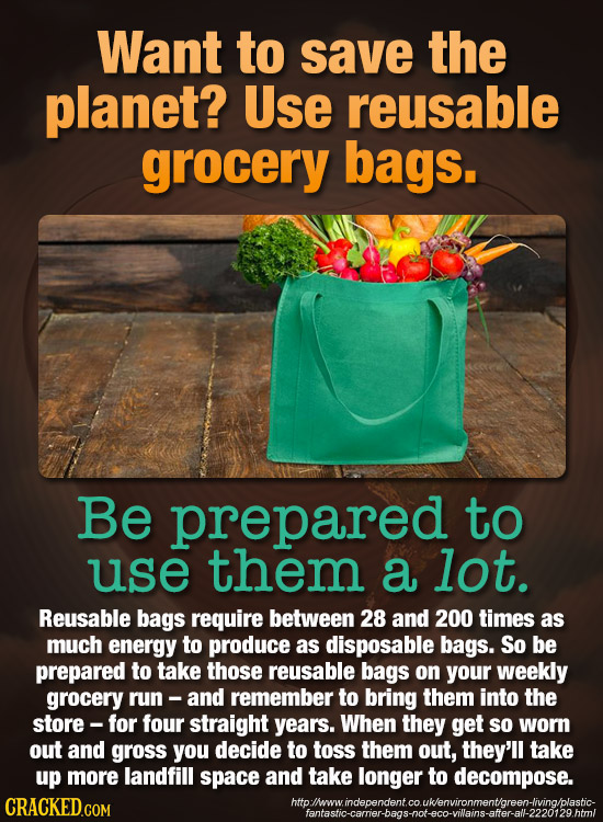 Want to save the planet? Use reusable grocery bags. Be prepared to use them a lot. Reusable bags require between 28 and 200 times as much energy to pr