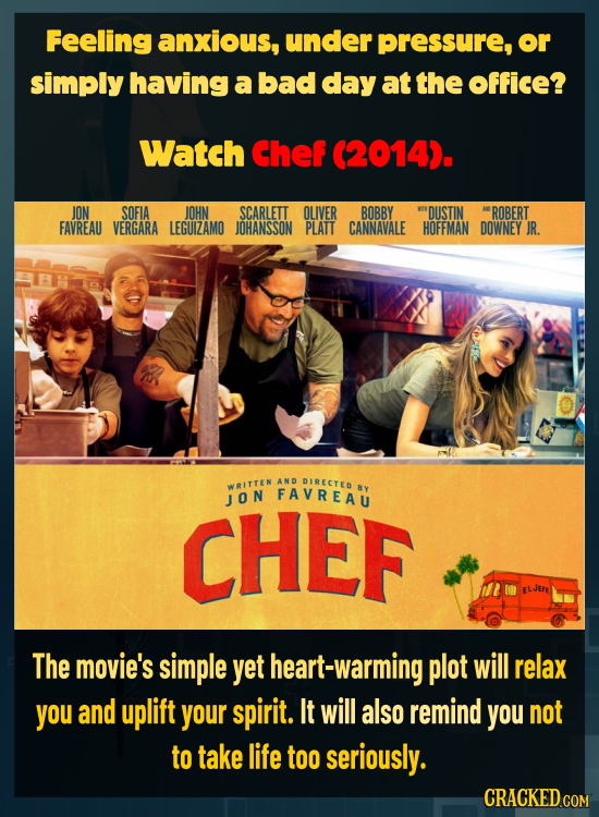 Feeling anxious, under pressure, or simply having a bad day at the office? Watch Chef (2014). JON SOFIA JOHN SCARLETT OLIVER BOBBY 'DUSTIN ROBERT FAVR