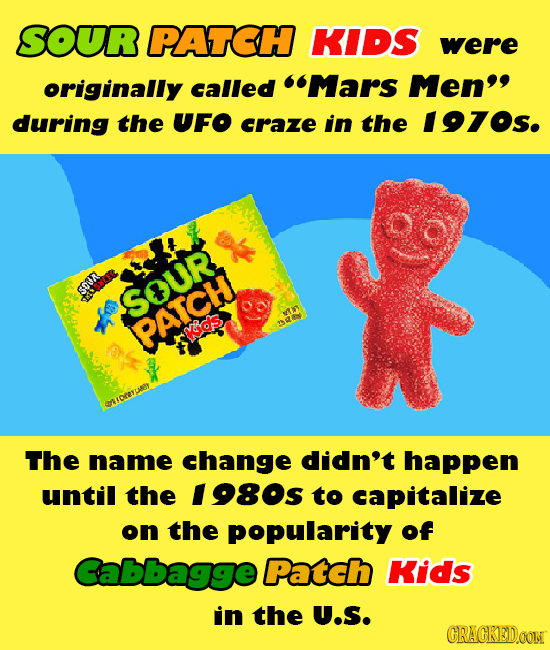 SOUR PATCH KIDS were originally called Mars Men during the UFO craze in the 1970s. sou SOUR PATCH vids: BRE mareyLy The name change didn't happen un