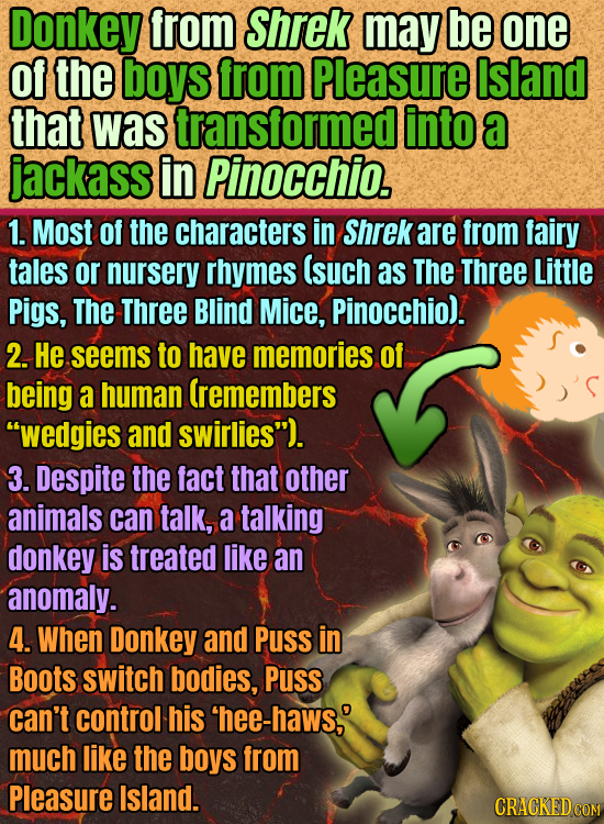 Donkey from Shrek may be one Of the boys from Pleasure Island that was transformedl into a jackass in Pinocchio. 1. Most Of the characters in Shrek ar