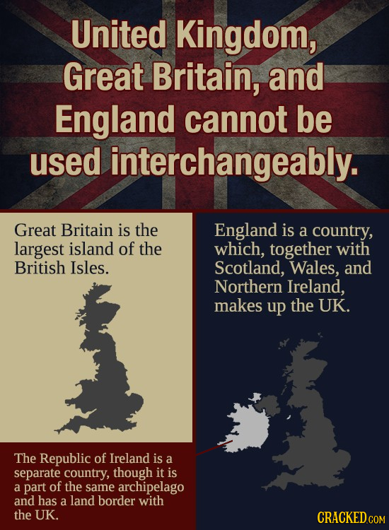 United Kingdom, Great Britain, and England cannot be used interchangeably. Great Britain is the England is a country, largest island of the which, tog