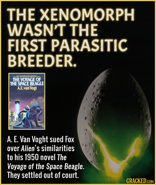 THE XENOMORPH WASN'T THE FIRST PARASITIC BREEDER. THE VOYAGE OF THE SPACE BEAGLE A.E. van Vogt A. E. Van Voght sued Fox over Alien's similarities to h