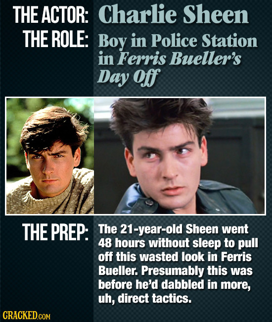 THE ACTOR: Charlie Sheen THE ROLE: Boy in Police Station in Ferris Bueller's Day off THE PREP: The 21-year-old Sheen went 48 hours without sleep to pu