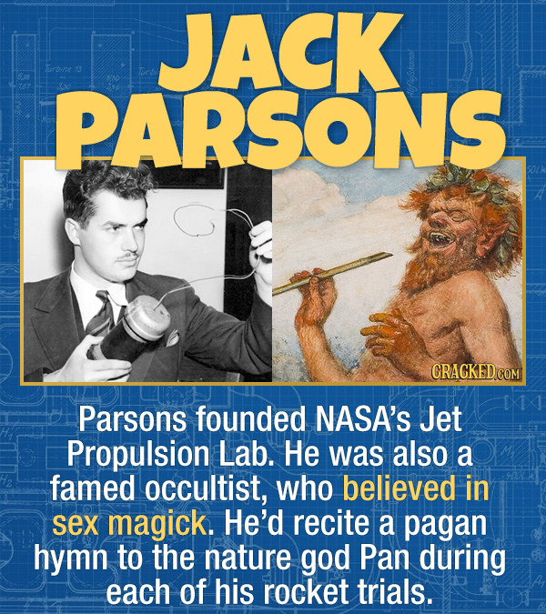 15 Bizarre Habits Of Incredibly Successful People - Parsons founded NASA's Jet Propulsion Lab. He was also a famed occultist, who believed in sex magi