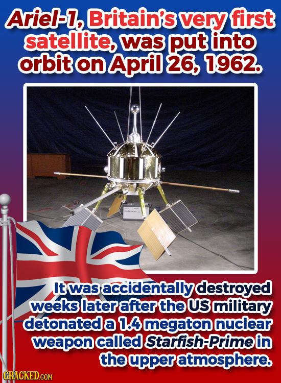 Arie-l, Britain's very first satellite, was put into orbit on April 26, 1962. It was asaccidentally destroyed weeks later after the US military detona