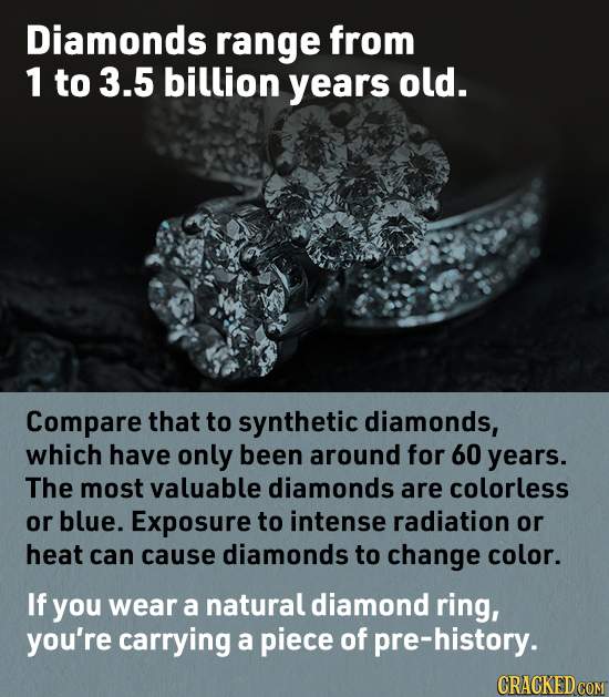 Diamonds range from 1 to 3.5 billion years old. Compare that to synthetic diamonds, which have only been around for 60 years. The most valuable diamon