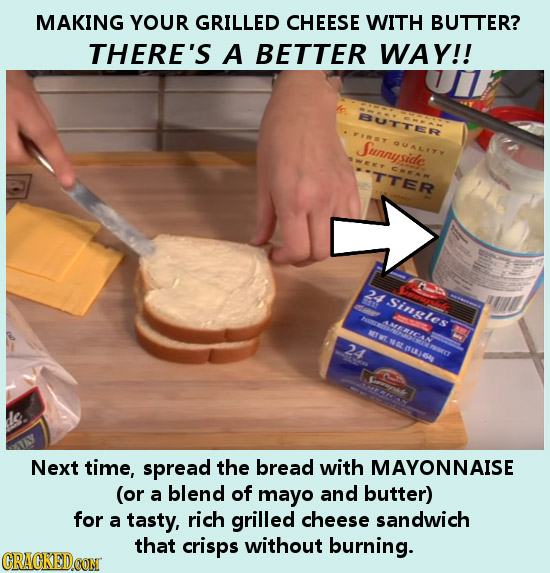 MAKING YOUR GRILLED CHEESE WITH BUTTER? THERE'S A BETTER WAY!! BBUTTER Junnyside. UALITY TTER COCAM 24 Singles AMIAM MET WT 24 MAL RGA Next time, spre