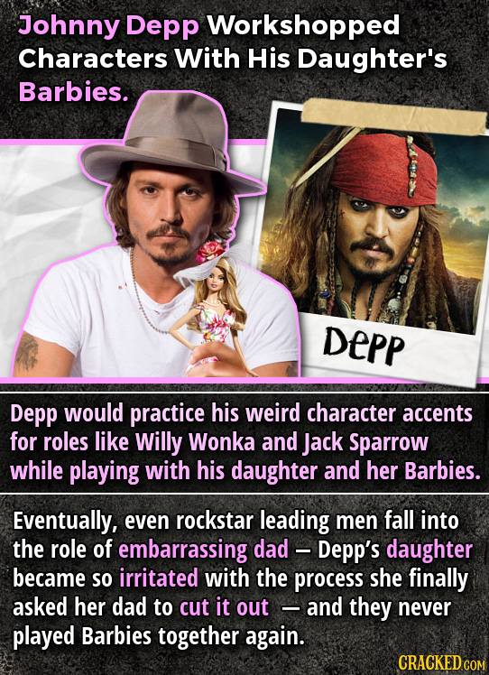 Johnny Depp Workshopped Characters With His Daughter's Barbies. DEPP Depp would practice his weird character accents for roles like Willy Wonka and Ja